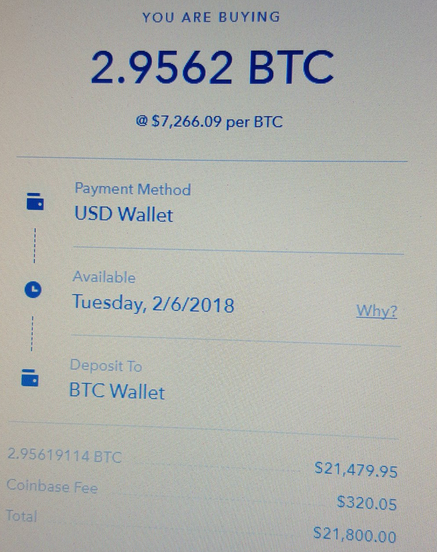 Фото покупки на Coinbase (Ронни Моас в Twitter)