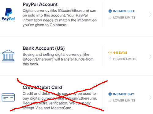 Пользователи Coinbase в США не смогут покупать криптовалюту с новых кредитных карт
