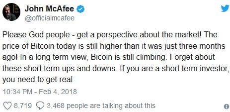Джон Макафи сравнивает цену Bitcoin с курсом трехмесячной давности