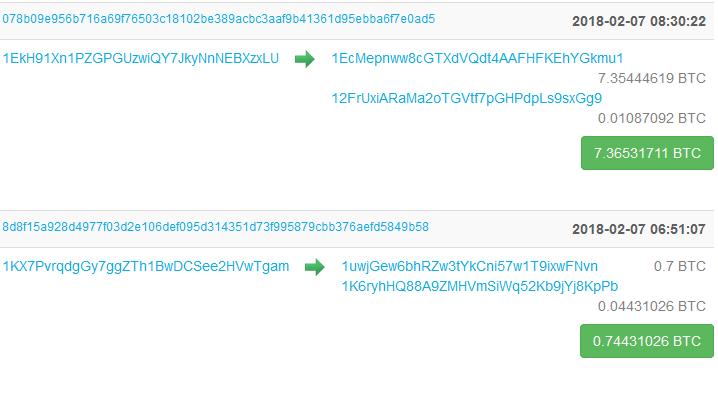 Отслеживание транзакций в публичной цепи Bitcoin через сканер blockchain.info