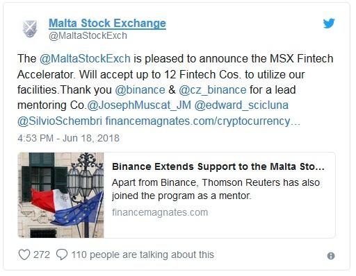 Binance поддержала фондовую биржу Мальты во внедрении финтех программы