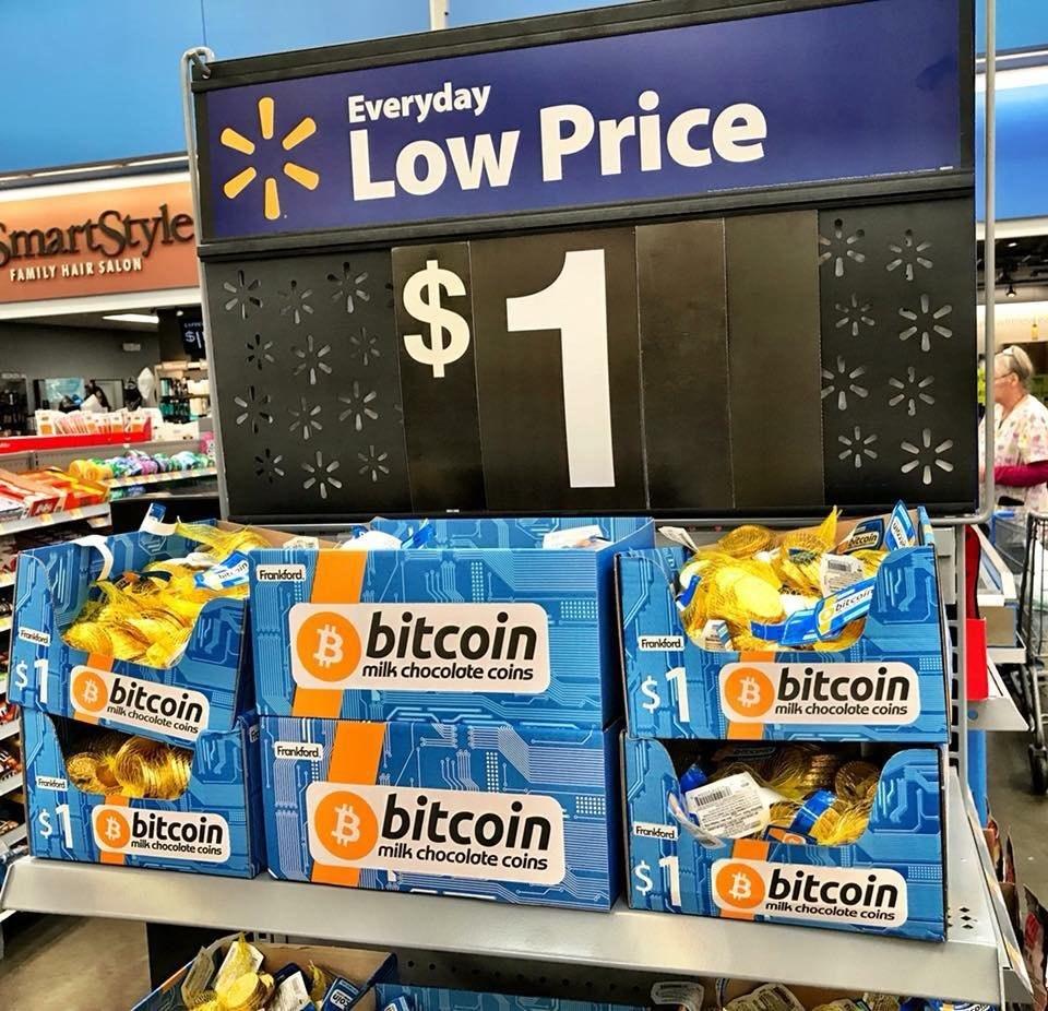 Шоколадный биткоин по 1 доллару в Walmart