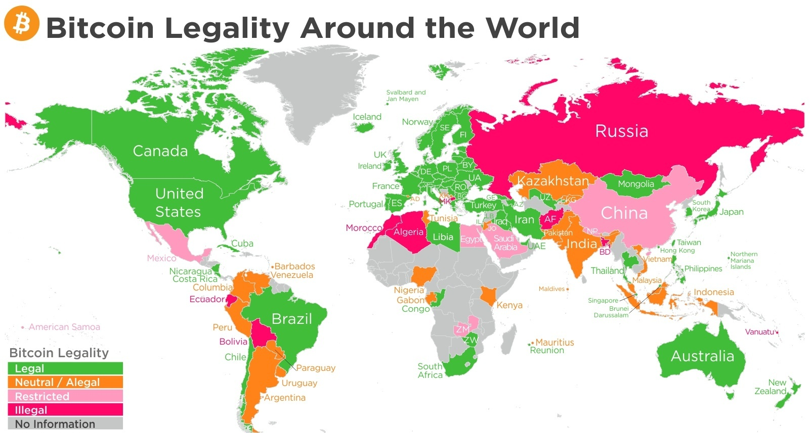 Карта легализации биткоина