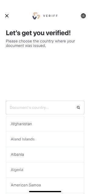 Выбираем страну, в которой выдан документ