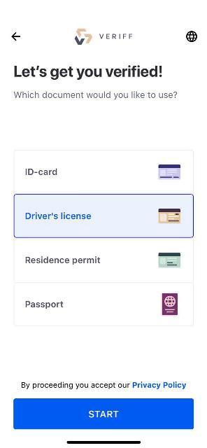 Выбираем тип документа, например, водительское удостоверение