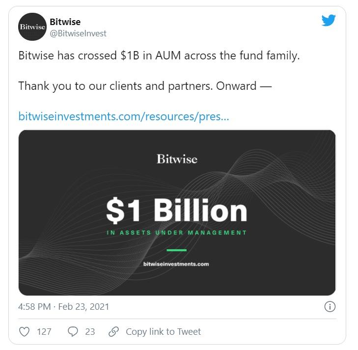 Активы криптофондов Bitwise превысили $1 млрд.
